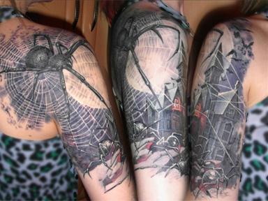 Татуировка паутина у женщин