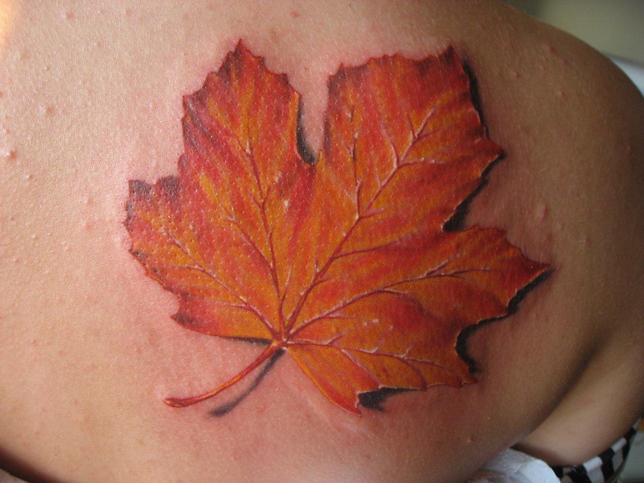 Татуировка кленовый лист у парней