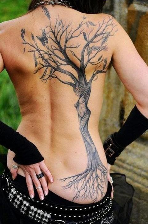 Татуировка дерево у девушек