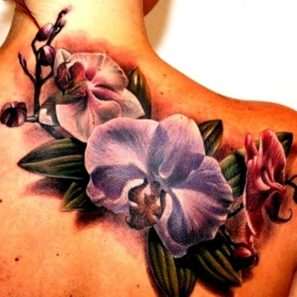 Татуировка орхидея у девушек