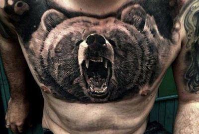 Татуировка медведь у парней