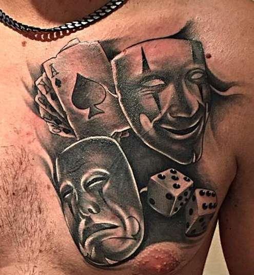 Татуировка маски у парней
