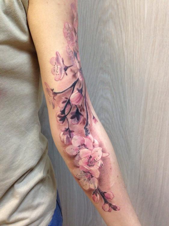 Татуировка сакура и парней
