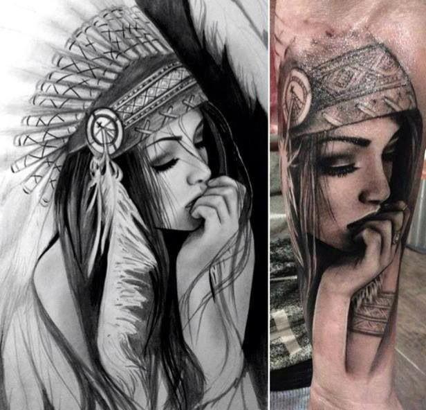 Татуировка индеец у девушек