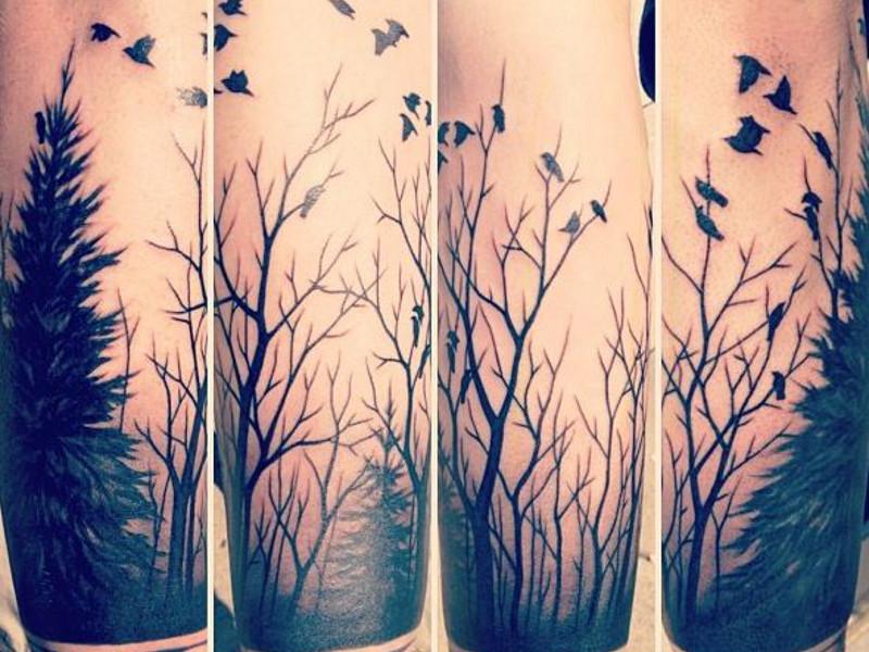 Татуировка лес у девушек