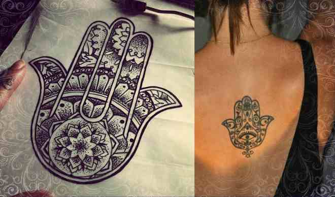 Татуировка хамса у девушек