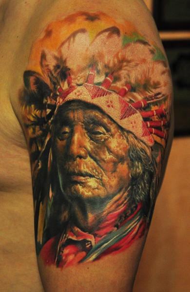 Татуировка индеец у парней