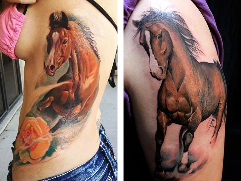 Татуировка лошадь у девушек