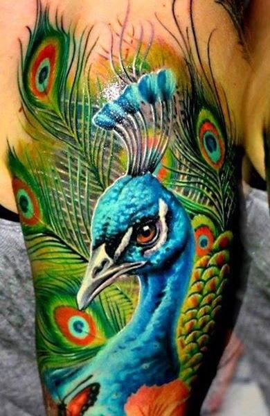 Татуировка павлин у парней