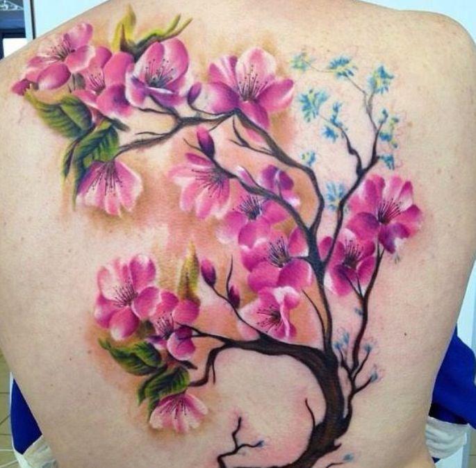 Татуировка сакура и девушек