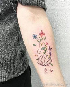 тату книга и цветы